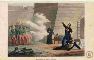 La fucilazione dei fratelli Bandiera in una litografia acquarellata d'epoca conservata nel Museo Centrale del Risorgimento