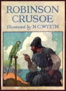 Una storica copertina di Robinson Crusoe