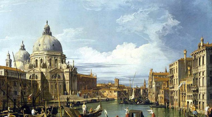 Il Canal Grande e la chiesa di Santa Maria della Salute, quadro di Canaletto, uno dei pittori più importanti del '700