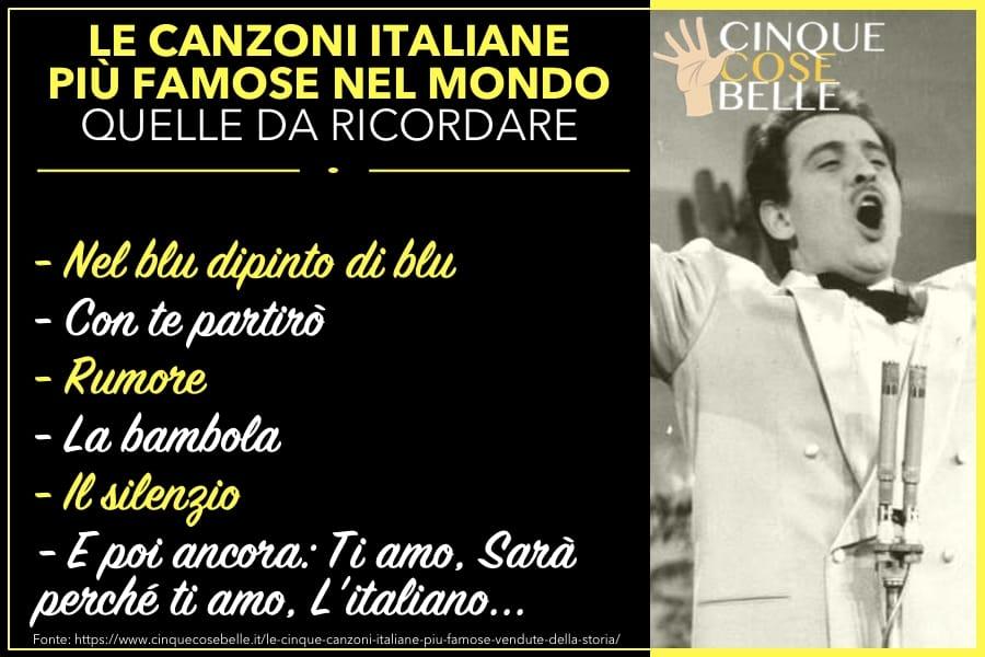 L'infografica sulle canzoni italiane più famose nel mondo