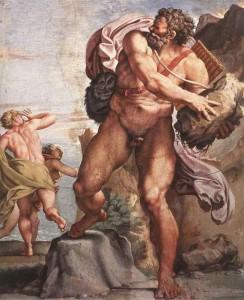 L'ira di Polifemo di Annibale Carracci conservato a Palazzo Farnese, a Roma