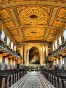 La cappella dell'Old Royal Naval College usata in Quattro matrimoni e un funerale
