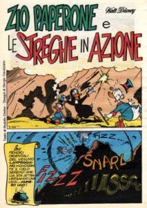 La splash page di Zio Paperone e le streghe in azione di Rodolfo Cimino e Giorgio Cavazzano