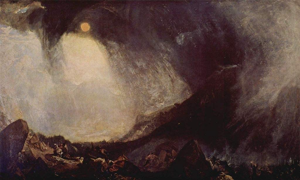 Bufera di neve: Annibale e il suo esercito attraversano le Alpi, uno dei dipinti di paesaggi più celebri di William Turner