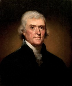 Thomas Jefferson, quarto presidente, in carica per due mandati dal 1800