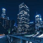 Skyline notturno di Los Angeles, seconda nella graduatoria delle città americane