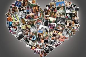Un collage di foto a forma di cuore, regalo ideale per San Valentino