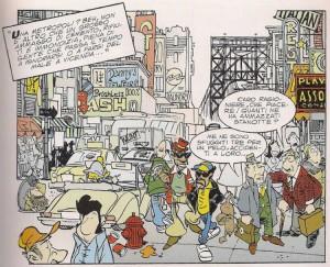 """Una delle vignette iniziali de """"La città"""", volume speciale di Bonvi e Cavazzano"""