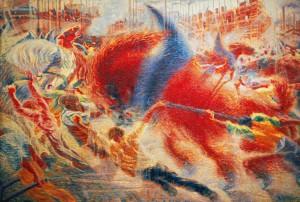 La città che sale, uno dei primi quadri futuristi di Umberto Boccioni