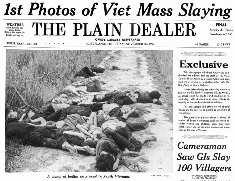 La prima pagina del Plain Dealer con lo scoop sul massacro di My Lai