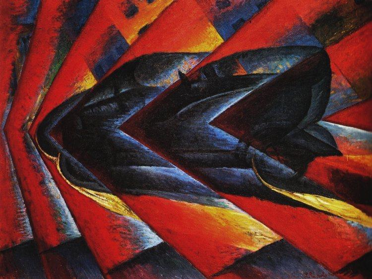 Dinamismo di un'automobile del pittore e musicista Luigi Russolo