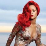 Rihanna sfoggia capelli rosso brillante