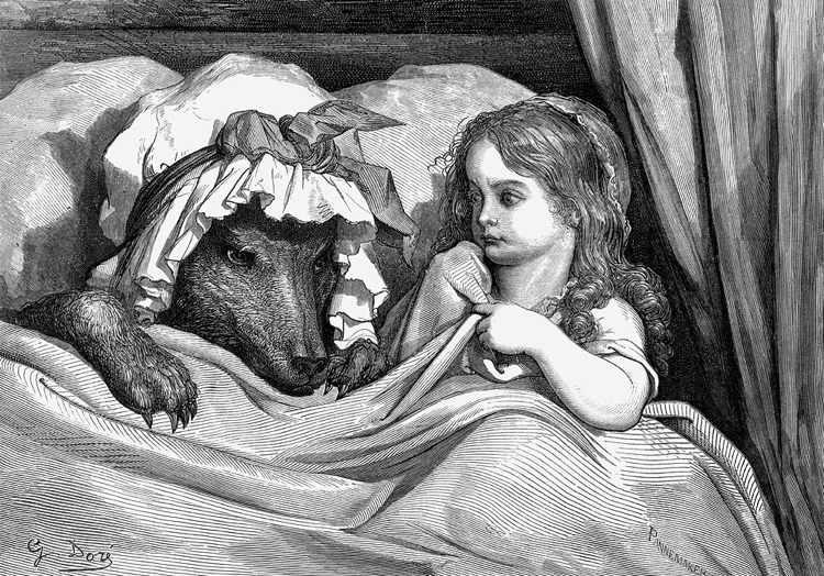 Cappuccetto Rosso e il lupo in un'illustrazione di Gustavo Doré