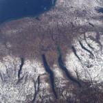 La caratteristica forma dei Finger Lakes visti dal satellite