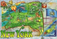 Cartolina che rappresenta i principali luoghi e città dello stato di New York