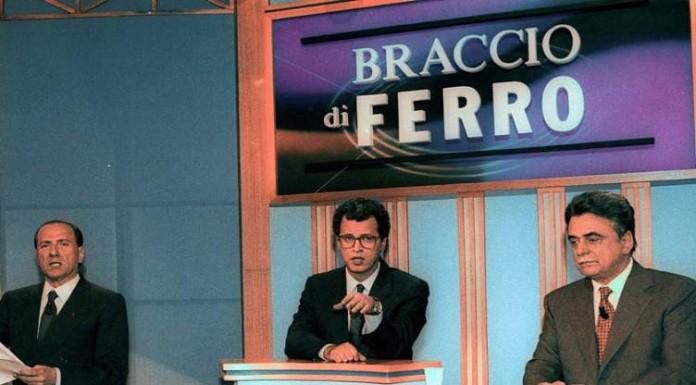 Il duello televisivo, condotto da un giovane Enrico Mentana, tra Achille Occhetto e Silvio Berlusconi durante la campagna elettorale del 1994