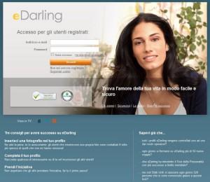 La pagina di registrazione di eDarling