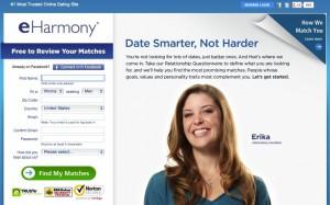 La pagina iniziale di eHarmony