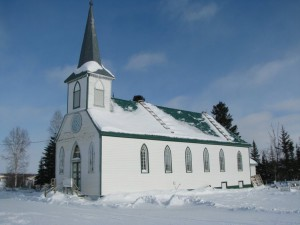 Una chiesa a Fort Good Hope, in Canada