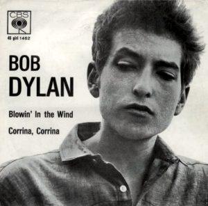 Un giovane Bob Dylan sulla copertina del singolo di Blowin' in the Wind