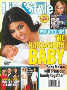 La copertina in cui Kourtney Kardashian annunciava la nascita di Mason