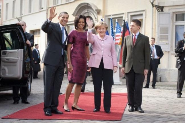 Angela Merkel col marito, Joachim Sauer, durante una visita degli Obama