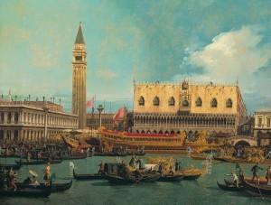 """Una delle più celebri vedute veneziane, """"Il Bucintoro al molo nel giorno dell'Ascensione"""" di Canaletto"""