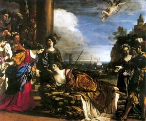 La morte di Didone raccontata nel mito antico da Virgilio e qui rappresentata da Guercino