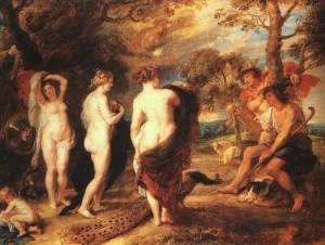 Il giudizio di Paride in un quadro di Peter Paul Rubens
