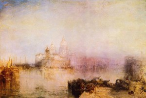 """Il suggestivo quadro di Venezia """"La dogana e Santa Maria della Salute a Venezia"""", di William Turner"""