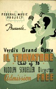 Il manifesto di una rappresentazione de Il trovatore di Verdi