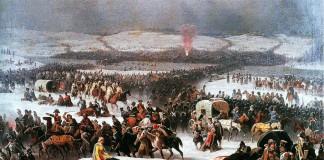 """""""Il passaggio di Napoleone sulla Beresina"""" di January Suchodolski, che ritrae i fatti raccontati anche da uno dei più famosi romanzi storici, """"Guerra e pace"""""""