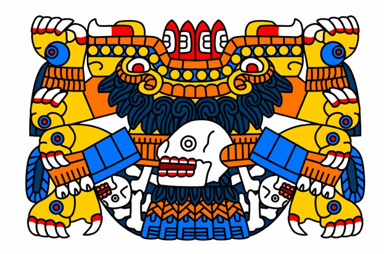 Il mostro Tlaltecuhtli della mitologia azteca