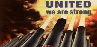 Manifesto di propaganda americano per celebrare l'alleanza contro le potenze dell'Asse