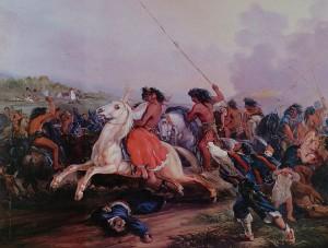 Un attacco dei Mapuche in un dipinto di Johann Moritz Rugendas