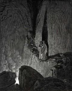 Dante e Virgilio si avvicinano al fuoco di Ulisse, nel XXVI canto dell'Inferno
