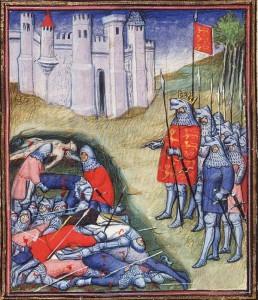 Edoardo III conta i morti dopo la battaglia di Crécy