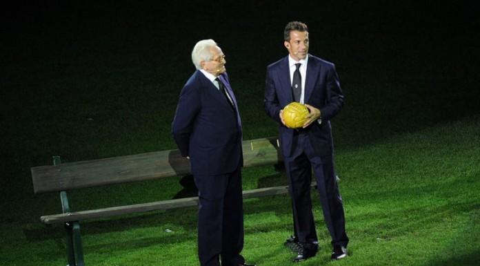 Alex Del Piero e Giampiero Boniperti, due giocatori storici e leggende della Juventus, alla presentazione dello Juventus Stadium
