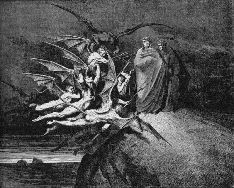 Dante e Virgilio accerchiati dai diavoli