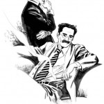 Dylan Dog e il suo assistente Groucho in un disegno di Giovanni Freghieri