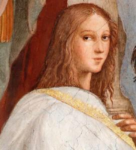 """Ipazia come si ritiene sia stata ritratta da Raffaello nella sua famosa """"Scuola di Atene"""""""