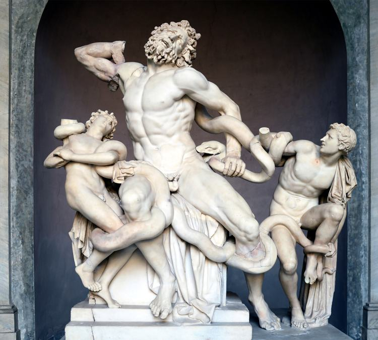 Il celebre gruppo del Laocoonte conservato ai Musei Vaticani, a Roma