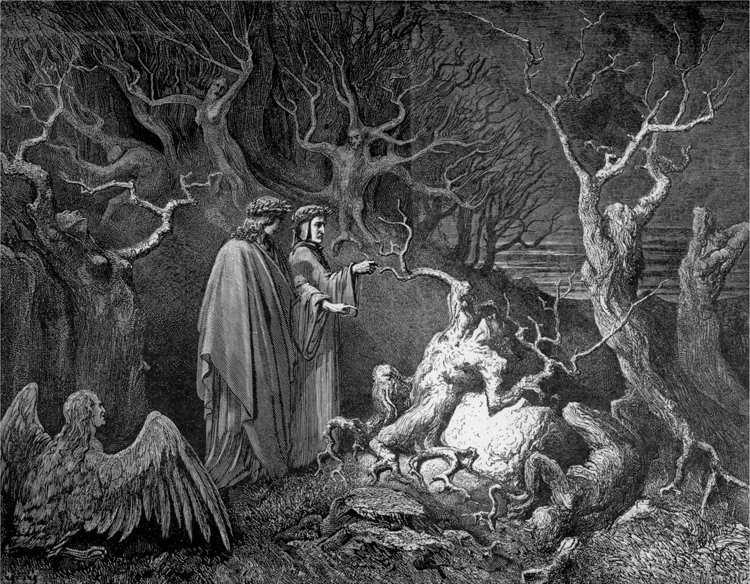 Virgilio introduce Dante nel girone dei violenti contro se stessi