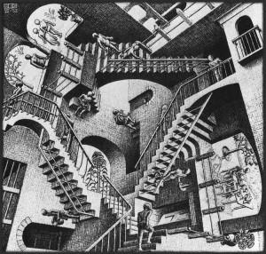 """""""Relatività"""" è una delle più famose litografie dell'olandese M.C. Escher, un maestro nel giocare con le illusioni ottiche"""