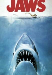 Il manifesto originale de Lo squalo, notissimo film di Steven Spielberg che ha spostato i mostri marini dalla letteratura al cinema
