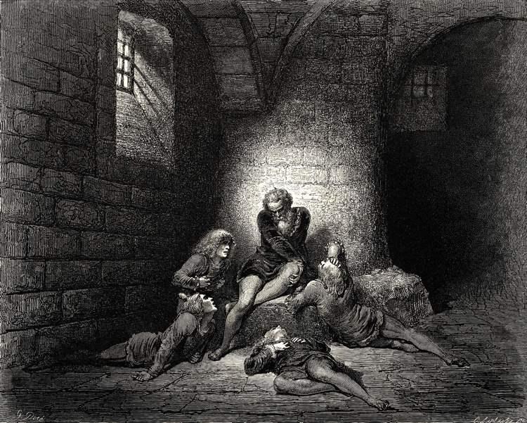 La terribile morte del conte Ugolino e dei suoi figli immaginata da Gustave Doré in una delle sue celebri incisioni