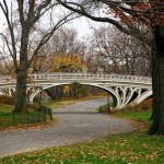 Central Park in autunno e il suo Gothic Bridge (foto di Bryan Schorn, via Wikimedia Commons)