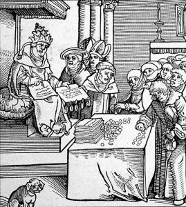 Incisione di Lucas Cranach del 1521 in cui lo stesso Leone X è raffigurato mentre vende le indulgenze