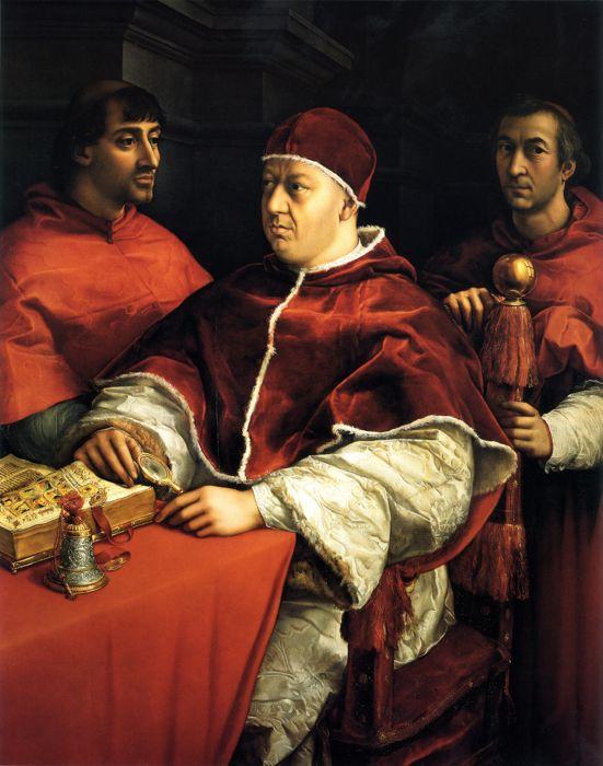 Leone X ritratto da Raffaello assieme a Giulio de' Medici e Luigi de' Rossi