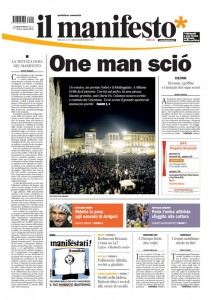 Una prima pagina de il manifesto datata 2013